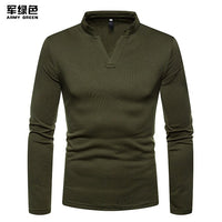 Winter Plus Velvet Warm Henley T Shirt Men 2020 Fashion V Neck Long Sleeve T-shirt Men Solid Color Slim Fit Tops Tees Camisetas