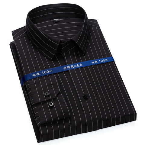 Top Quality Mens Dress Shirt Non Iron Long Sleeve Regular Fit Business Office Fashion Striped Formal Blouse