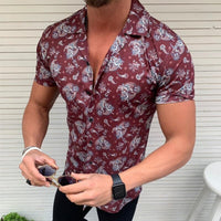 Summer Man Shirt Mens Ethnic Printed Cotton Linen Stripe Short Sleeve Loose Hawaiian Henley Shirt hawaiian shirt