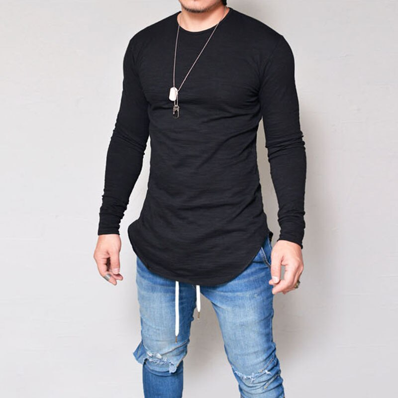 Mens Long Sleeve Hipster Hip Hop Basic Henley T Shirt for Men Swag Curve Hem Slim Fit Cotton Stretchy Pullover