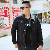 Denim Jacket Men Black Stretch Oversize Motorcycles Mens Fashion Clothing Plus Size 5XL 6XL 7XL 8XL Spring Autumn Jeans Coat