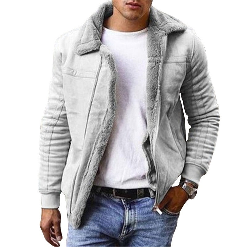 2020 Winter Men's Faux Leather Jackets And Coats Fleece Lined Warm Parkas Thicken Thermal Faux Fur Overcoat Outerwear