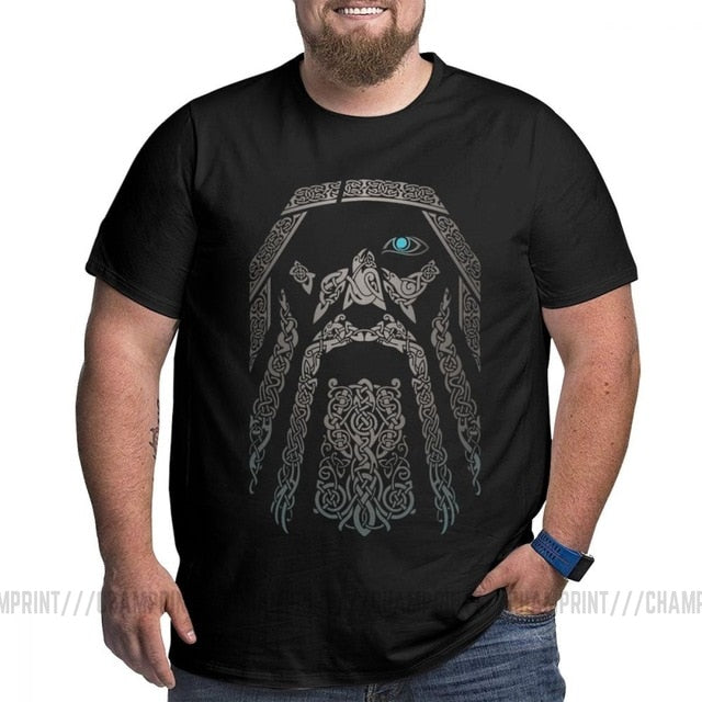 Men ODIN Vikings Valhalla T Shirt Cotton Vintage Big Tall Tops Tees T-Shirts Plus Size Big Size Large Clothing 4XL 5XL 6XL
