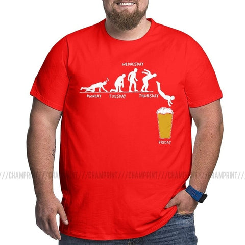 Men Week Craft Beer T Shirt Alcohol Drunk T-Shirts Wine Drinking Big Size Tees Pure Cotton Tall Man Clothes Short Sleeve O Neck