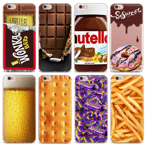Chocolate Cookies fries beer Creativity phone case for apple iphone 6 Case 4 5S SE 6S 7 8 Plus 