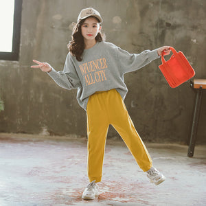 Girls autumn suit rice loose elastic casual suit Korean letter printing shirt two-piece suit