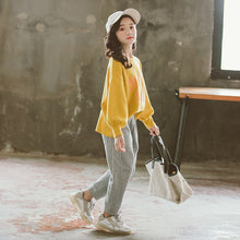 Load image into Gallery viewer, Girls autumn suit rice loose elastic casual suit Korean letter printing shirt two-piece suit