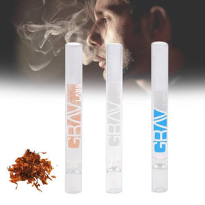 1pc White Portable Glass Tobacco Pipes 105*7mm Mini Health Hookah Tube Holder Weed Grinder Lighter Cigarette Smoke Accessories