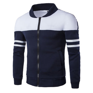 Men Casual Polyester Rib sleeve Standard Regular Zipper Jackets