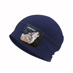 New autumn and winter windproof cap rooster winter hat Donald Duck embroidered patch knit animal wool hat warm headgear
