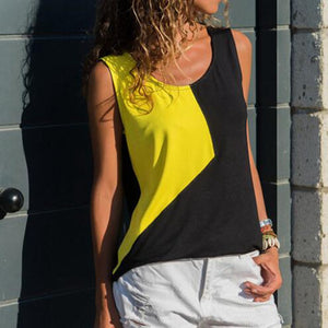 Spot wholesale  summer new   stitching round neck sleeveless shirt vest T-shirt