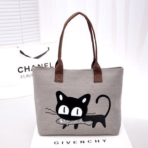new Korean ladies bag fashion linen bag cute kitten shoulder bag shoulder bag handbag