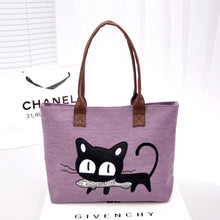 Load image into Gallery viewer, new Korean ladies bag fashion linen bag cute kitten shoulder bag shoulder bag handbag