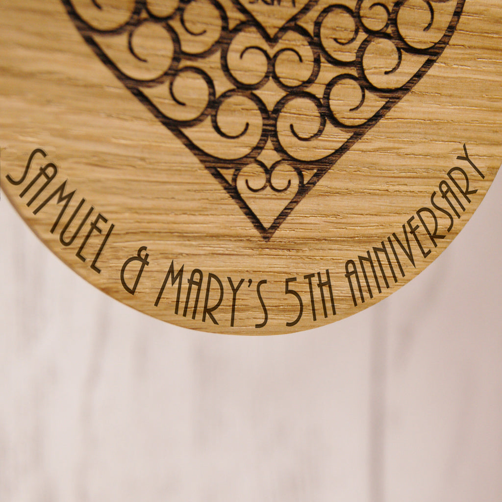 Personalised Wooden 5th Anniversary Decoration