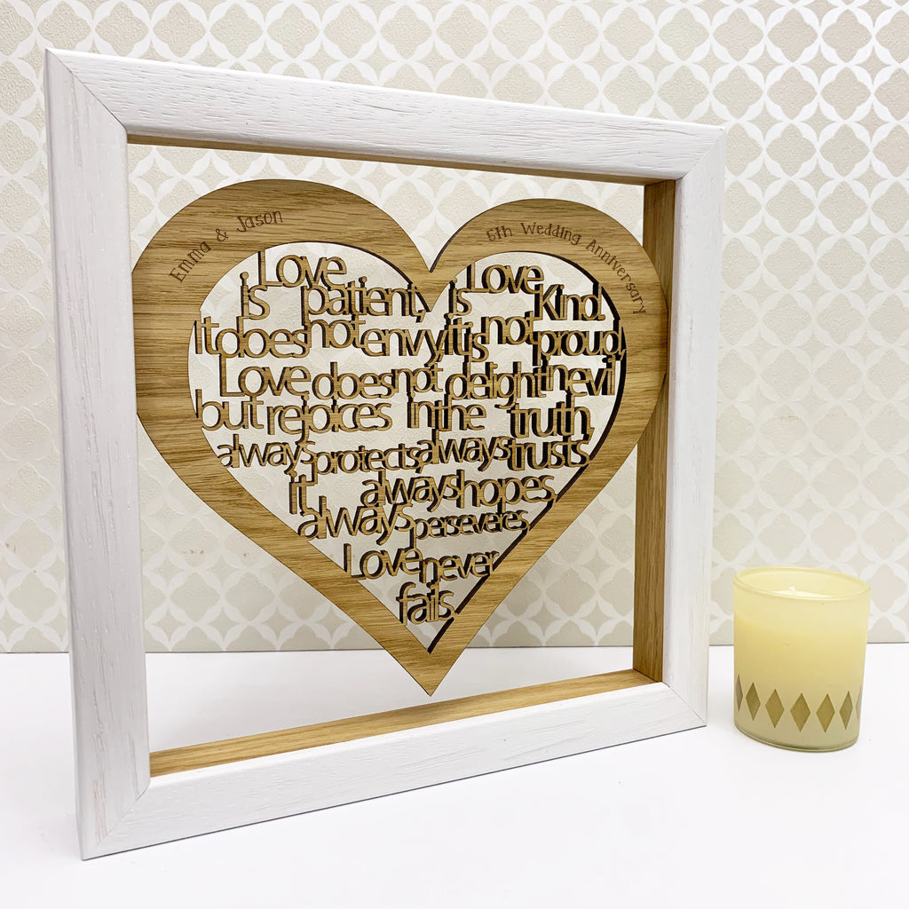 Personalised 5th Wood Anniversary 'Love is...' Artwork