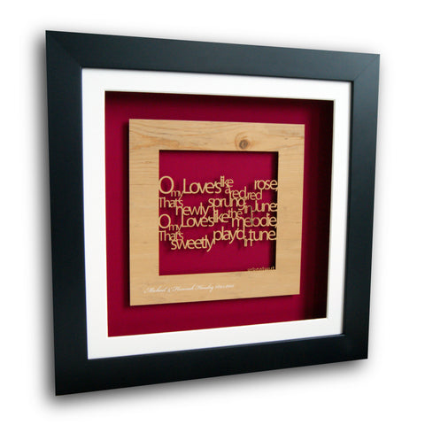 Personalised 'A Red Red Rose' Wall Art