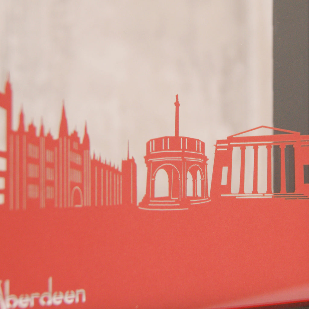 Aberdeen Landmarks in Matt Bright Red