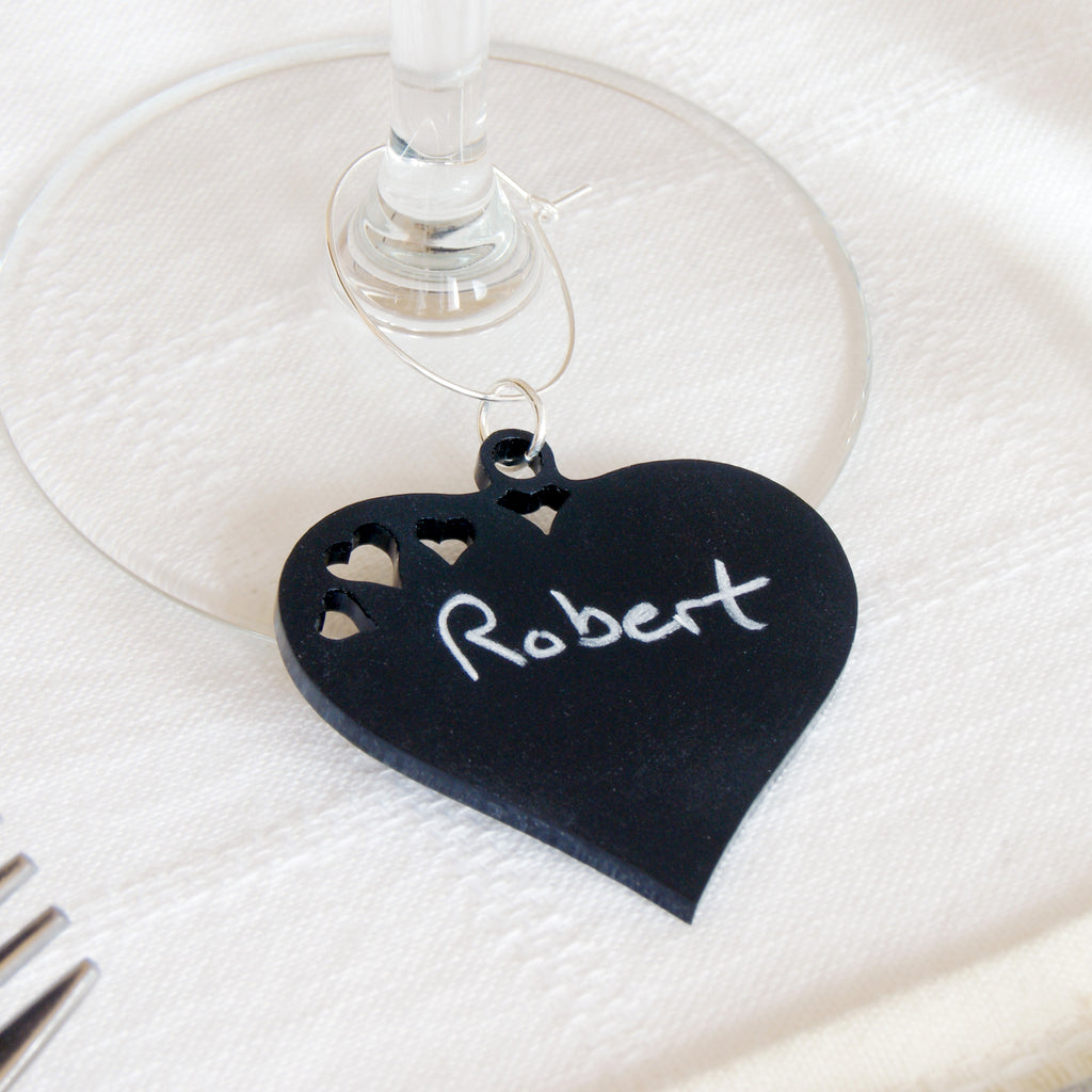Blackboard Heart Wine Glass Charm