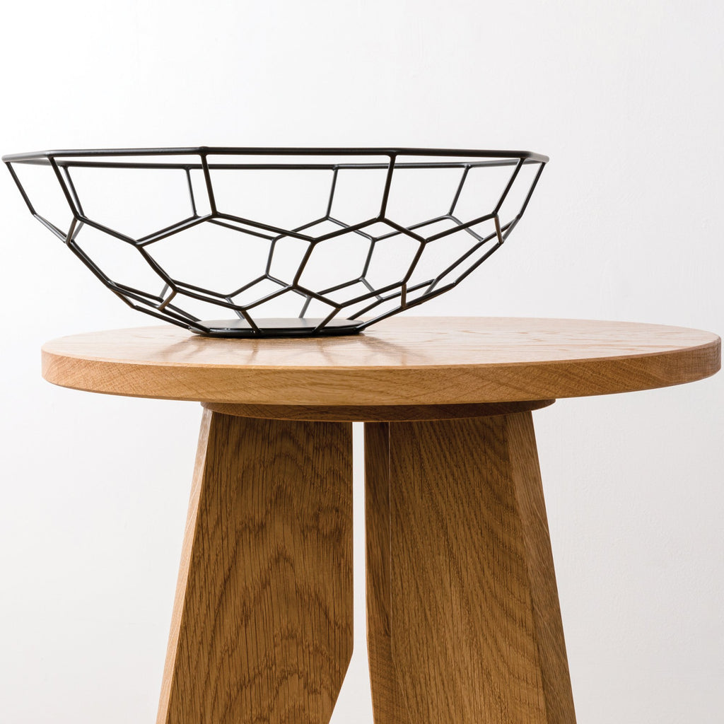 Angled Circular Oak Side Table
