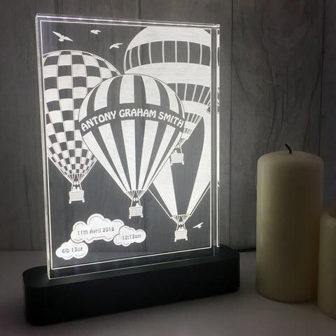 Personalised New Baby Balloons Table Light