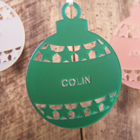 Personalised Frost Star Bauble Christmas Tree Decoration