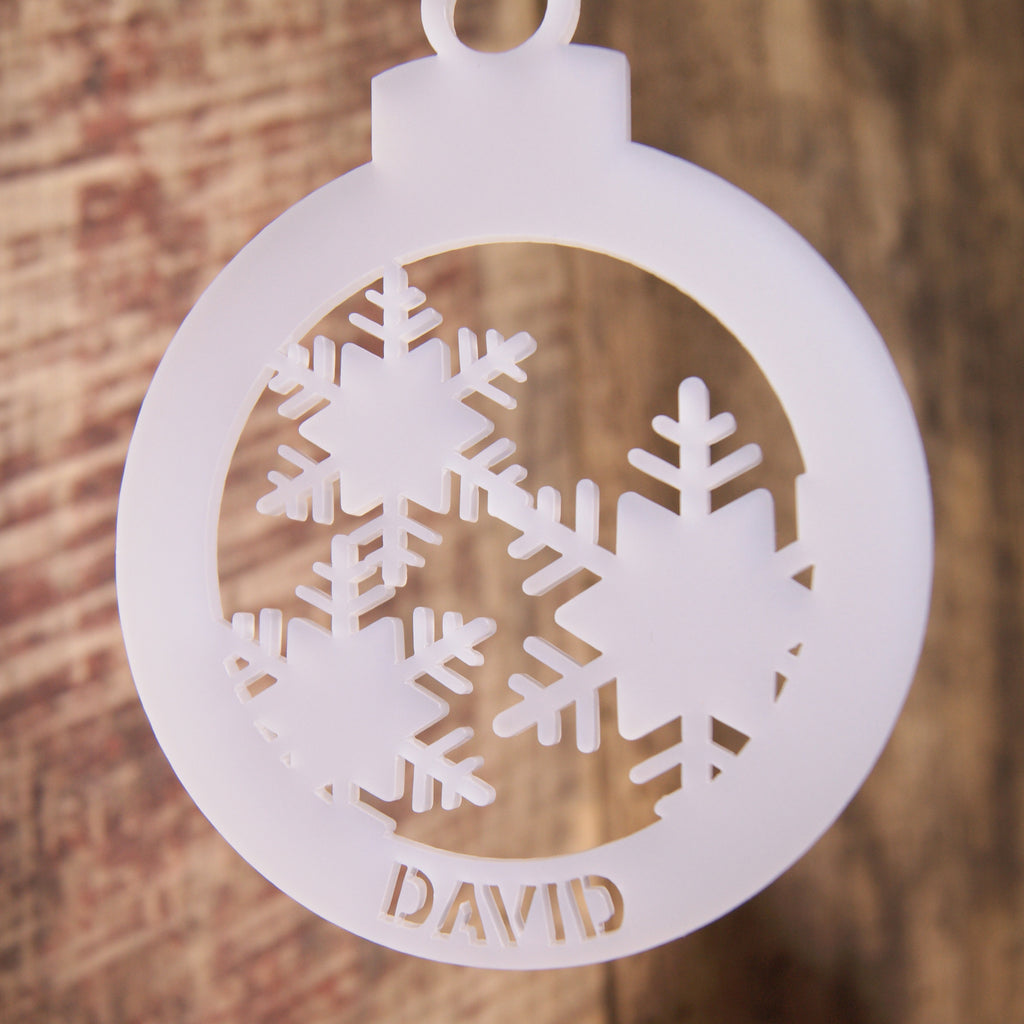 Personalised Frost Christmas Tree Decoration