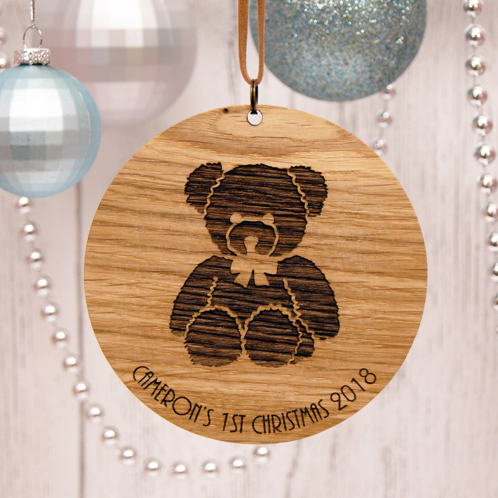 Personalised Oak Christmas Decoration - Baby's First Christmas Bear Design