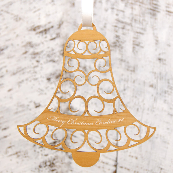 Personalised christmas decoration hanging bell urban twist for Personalised christmas decorations
