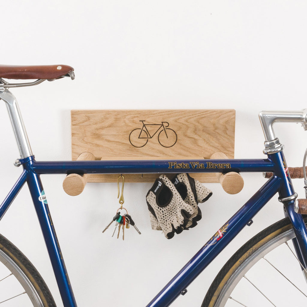 Oak Bike Shelf with Hanging Shelf - Racer Design