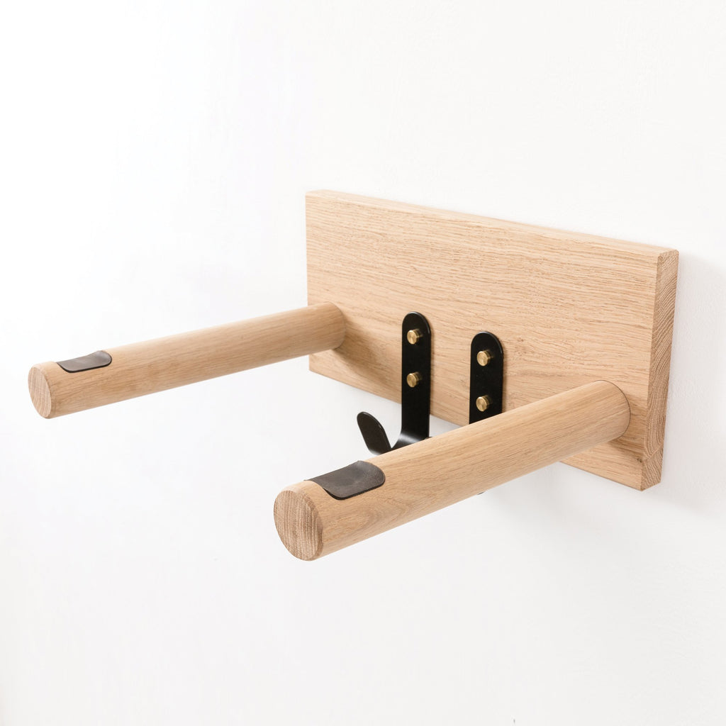 Oak Bike Shelf with Hanging Hooks - Personalised Name