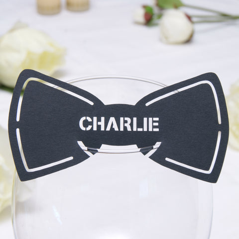 Personalised Bow Tie Wedding Wine Glass Name Place Card