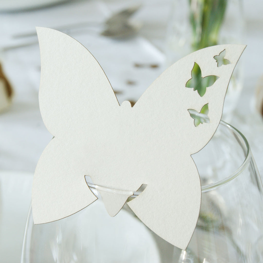 Butterfly Wine Glass Place Card in Natural (front)
