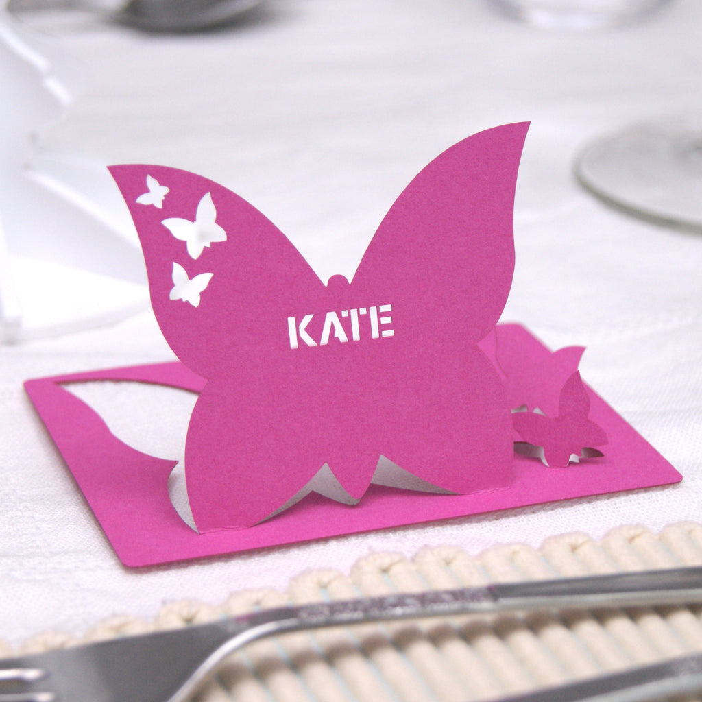 Butterfly Place Card in Fuchsia Pink