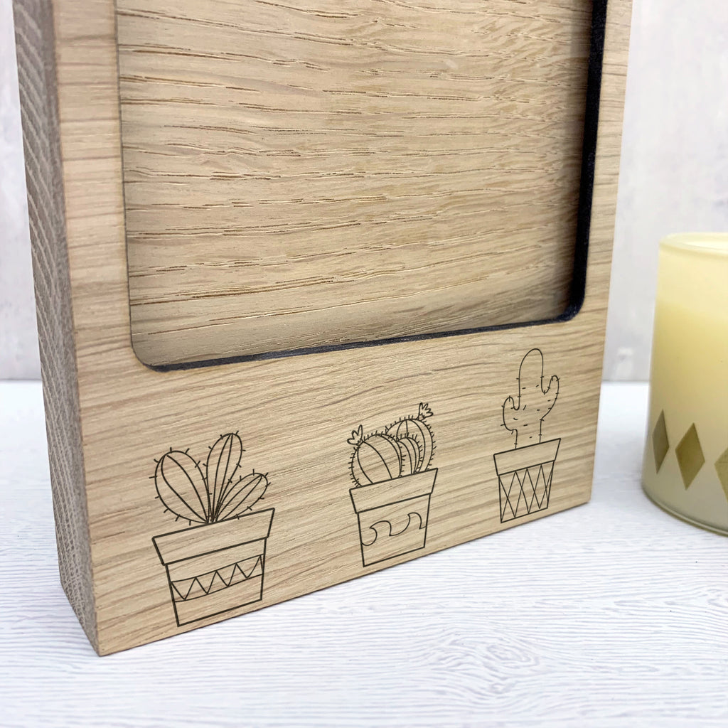 Wooden Cactus Photo Block