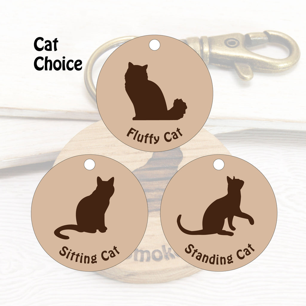 Personalised Cat Wooden Keyring