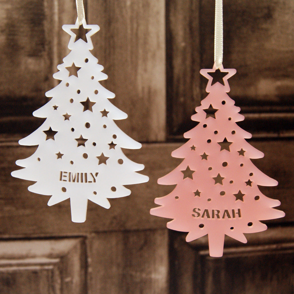 Personalised Acrylic Tree With Stars Christmas Tree Decoration