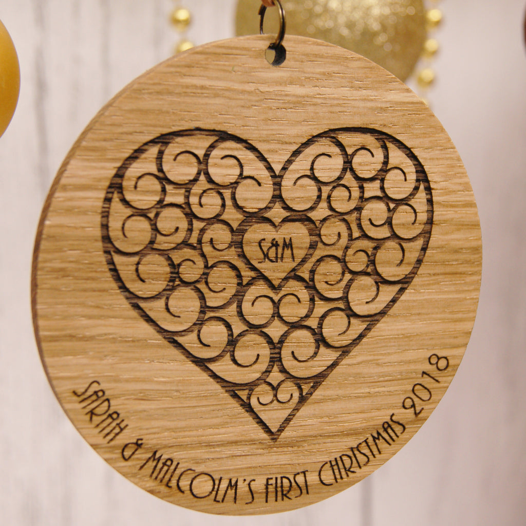 Personalised Oak Christmas Decoration - Wooden Heart Design