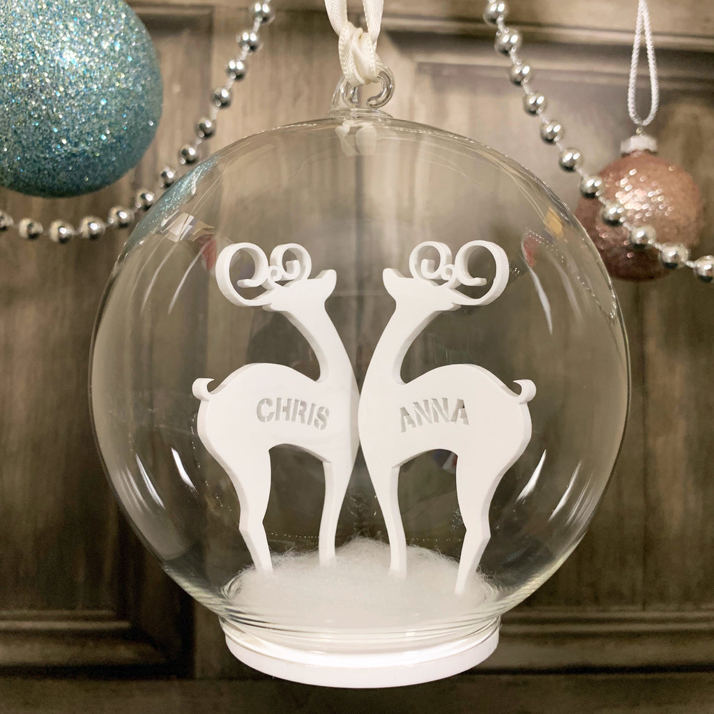 Personalised Reindeers Glass Bauble