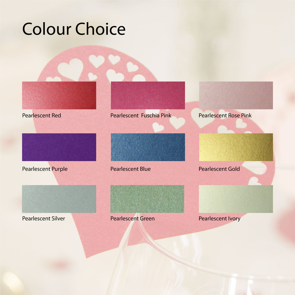 Pearlescent Cut Out Hearts Wedding Wine Glass Name Place Cards (Pack of 10)