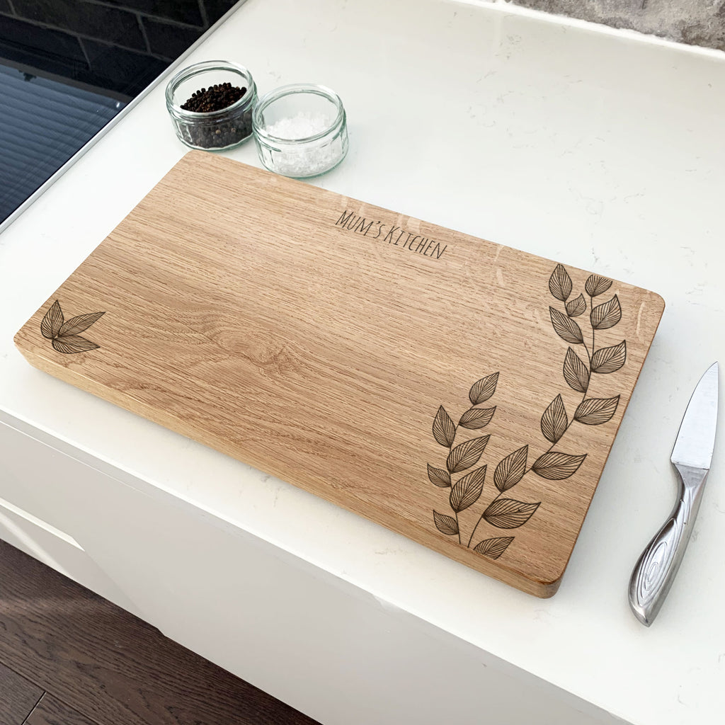 Personalised Decorative Leaves Chopping Board