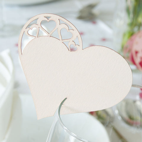 Detailed Heart Wedding Wine Glass Name Place Cards (Pack of 10)