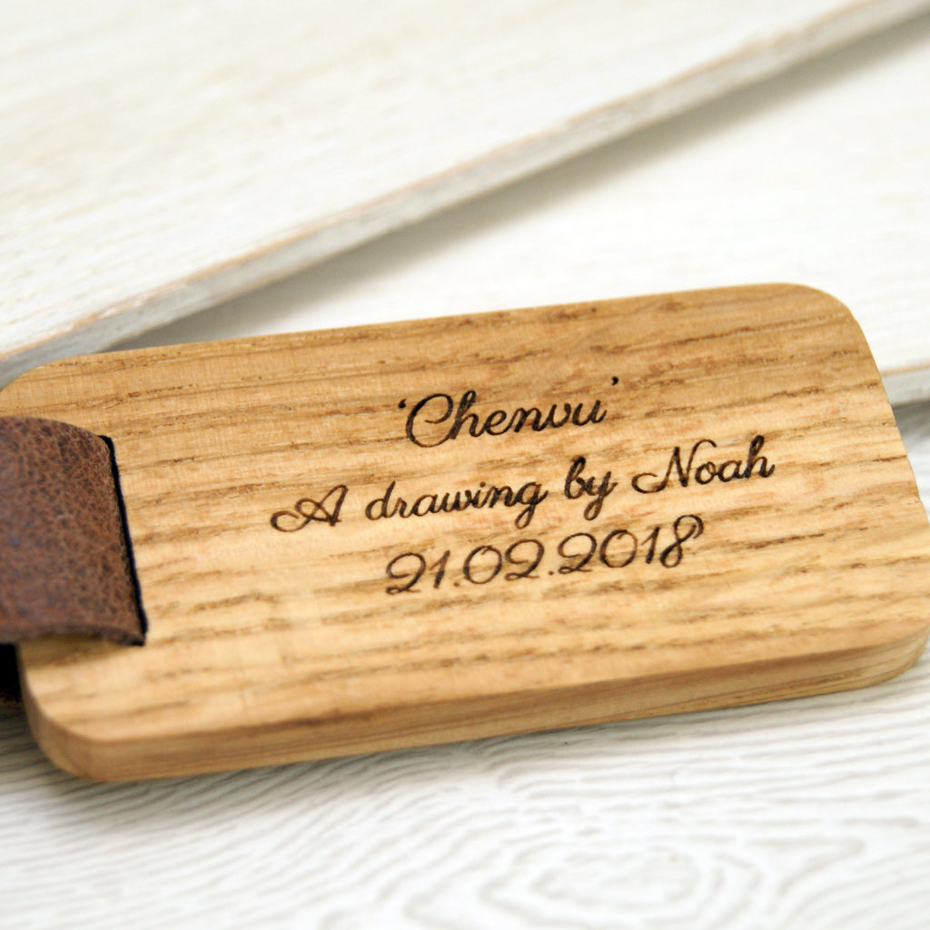 Personalised Child's Drawing Leather & Wood Keyring