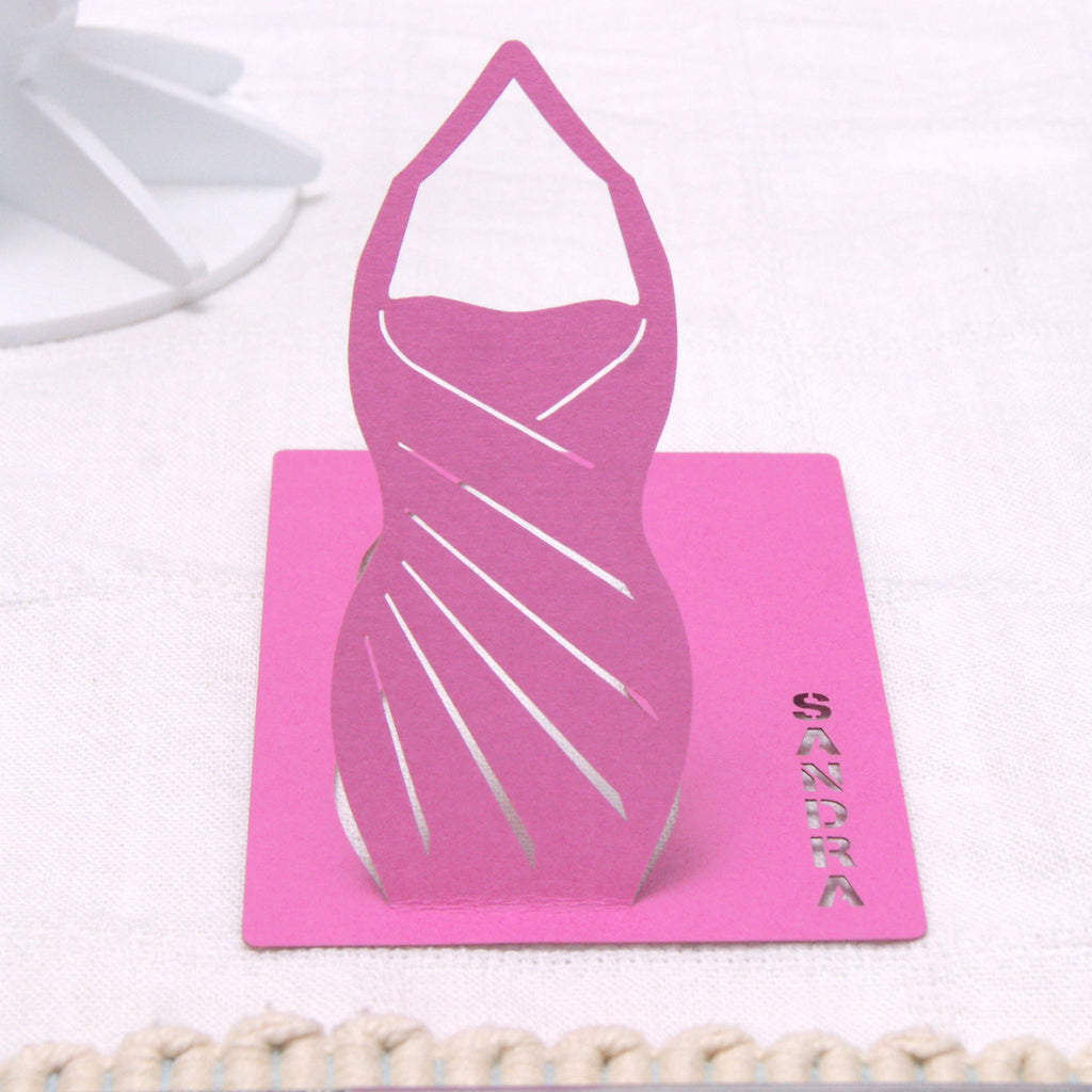 Dress Place Card in Fuchsia Pink