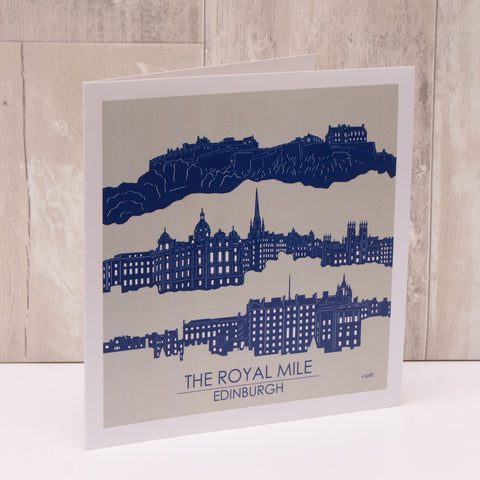 Edinburgh Landmarks Printed Art Cards (Pack of 3 - Blue)