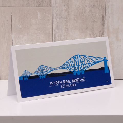 Edinburgh's Forth Rail Bridge Printed Art Cards (Pack of 2 - Blue/Red)