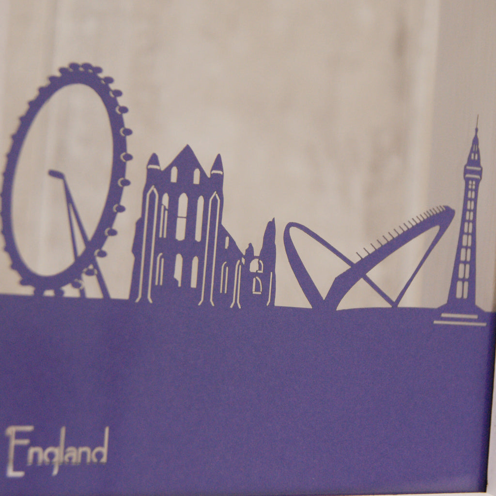 England Landmarks in Matt Purple