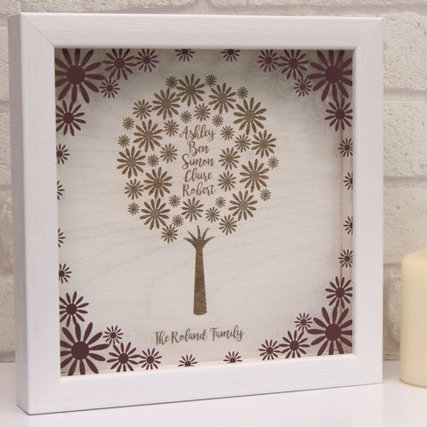 Engraved Family Tree in Matt Claret