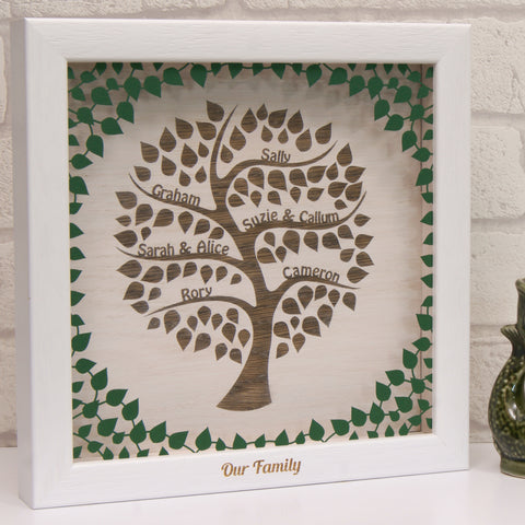 Engraved Family Tree in Matt Forest Green