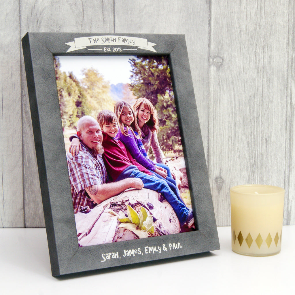 Personalised Stone-Effect Family Photo Frame