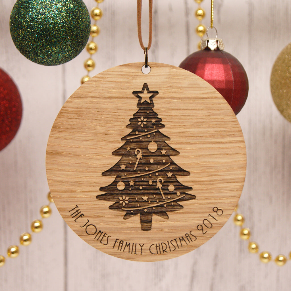 Personalised Oak Christmas Decoration - Tree Design